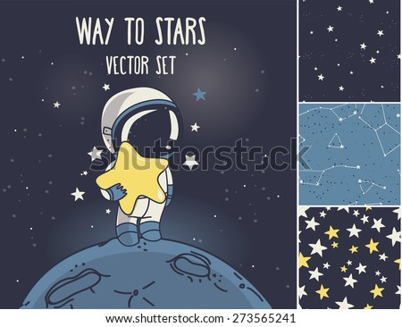 cute card with  hand drawn astronaut on planet and starry seamless backgrounds, vector illustration - stock vector