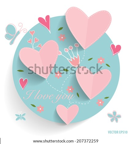 Cute card with heart and floral bouquets, vector illustration. - stock vector