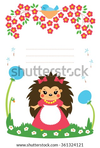 Cute card with hedgehog girl. Some blank space for your text included.