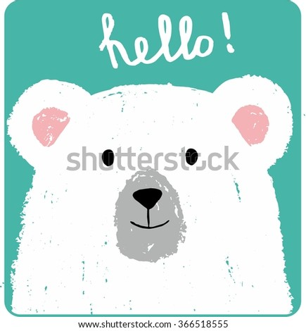 Cute card with lovely white bear drawn with colored crayons isolated on turquoise background. Hello! Vector hand drawn illustration - stock vector