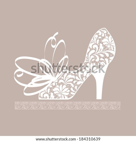 cute card with shoe - stock vector