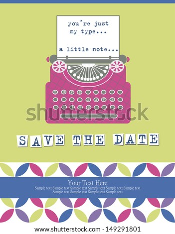 cute card with typewriter. vector illustration - stock vector