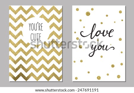 Cute cards with gold Confetti glitter - stock vector