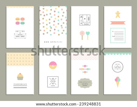 Cute cards with sweets.  - stock vector