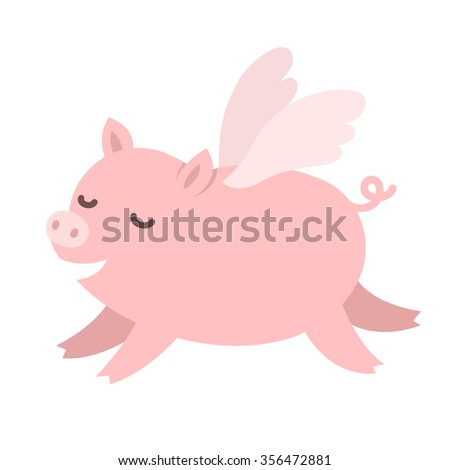 "Cute carton pig with wings, ""When pigs fly"" idiom illustration."