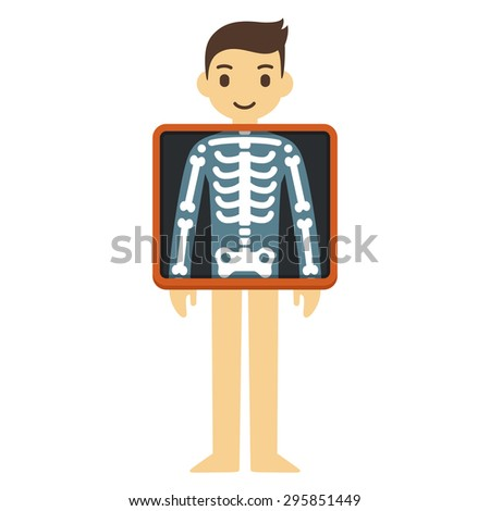 Cute cartoon adult man with x-ray screen showing his chest bones. Element of health infographics. - stock vector