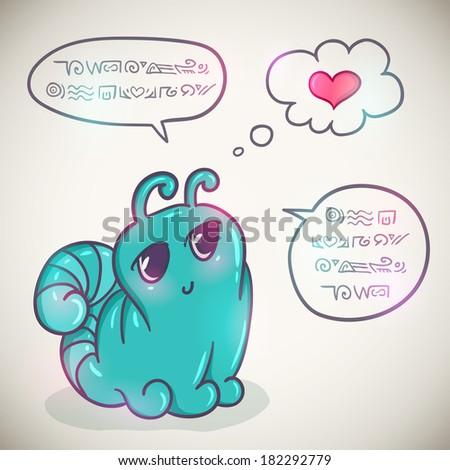 Cute cartoon alien with speach bubbles - stock vector