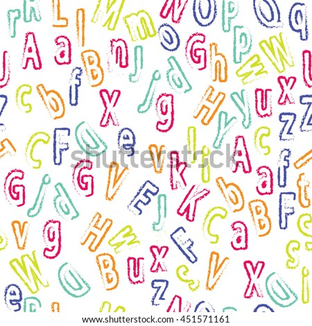 Cute cartoon alphabetic letters seamless pattern in retro style. Pattern can be used for scrap booking, posters, school projects. - stock vector