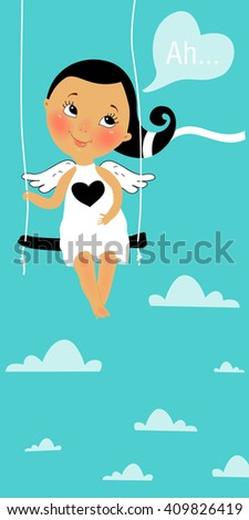 Cute cartoon angel girl in the heavens, on a swing, dreaming about love - stock vector