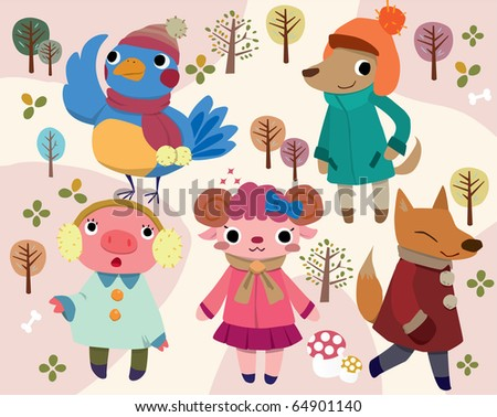 cute cartoon animal - stock vector