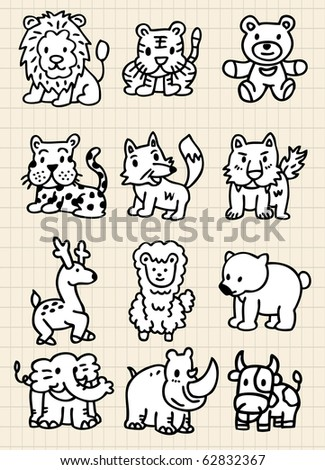 cute cartoon animal icon - stock vector