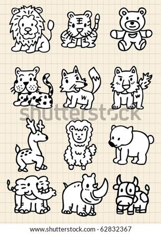 cute cartoon animal icon - stock vector