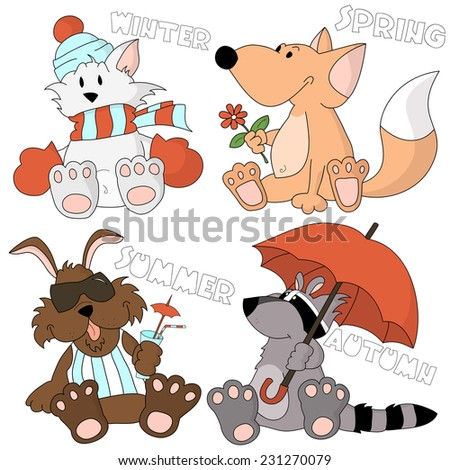 Cute cartoon animal kids, 4 seasons of nature set. Spring fox with a flower, summer dog sunbathing with a cocktail, autumn raccoon under a huge umbrella, winter cat braided in a big scarf. - stock vector