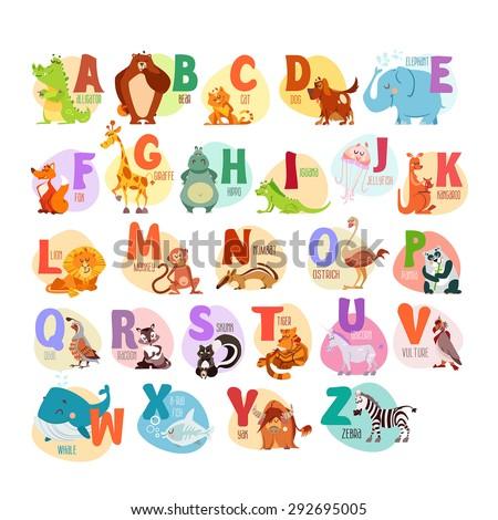 Cute cartoon animals alphabet for children education. Vector illustrations - stock vector