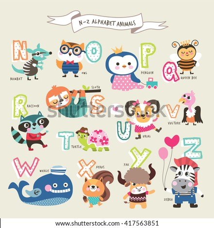 Cute cartoon animals alphabet from N to Z - stock vector