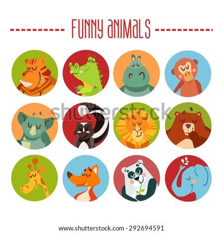 Cute cartoon animals avatars. Vector illustration - stock vector