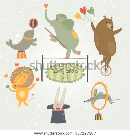 Cute cartoon animals from circus: elephant, bear, lion, rabbit, rat and cute seal. Vector illustration. - stock vector