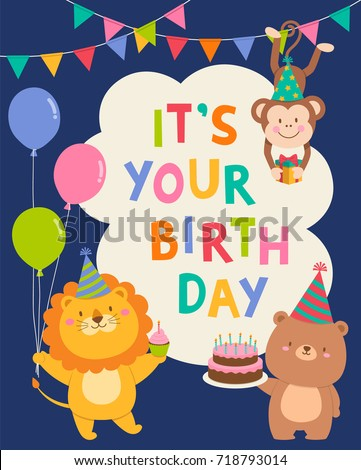Cute cartoon animals illustration birthday card stock vector cute cartoon animals illustration birthday card stock vector 718793014 shutterstock bookmarktalkfo
