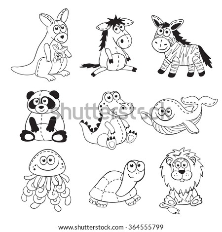 Cute cartoon animals isolated on white background. Stuffed toys set. Cartoon animals outline collection. Funny baby animals contours for coloring books. - stock vector