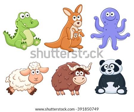 Cute cartoon animals isolated on white background. Stuffed toys set. Vector illustration of adorable plush baby animals. Crocodile, kangaroo, octopus, sheep, yak, panda. - stock vector