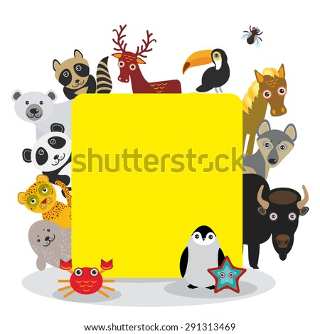 Cute Cartoon animals set toucan deer raccoon horse wolf Bison Penguin starfish crab seal leopard panda polar bear, frame on white background, card design, banner for text. Vector illustration - stock vector