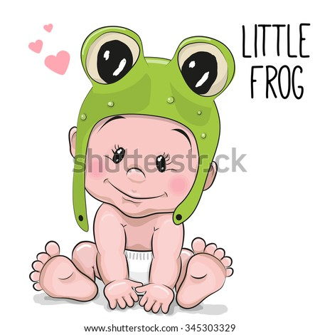 Cute Cartoon Baby boy in a frog hat on a white background - stock vector