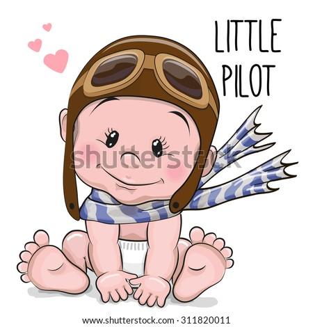 Cute Cartoon Baby boy in a pilot hat and scarf - stock vector