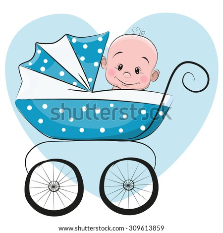 Cute Cartoon Baby boy is sitting on a carriage on a heart background - stock vector