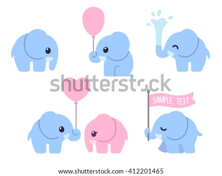Cute cartoon baby elephant set. Adorable little elephants, greeting cards design elements.