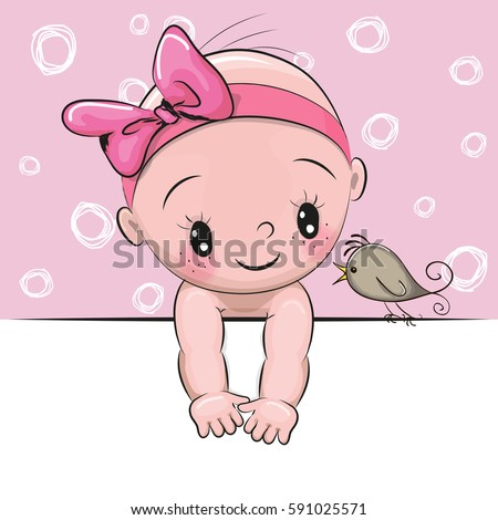 Cute cartoon baby girl bird on stock vector 591025571 shutterstock cute cartoon baby girl and a bird on a pink background voltagebd Image collections