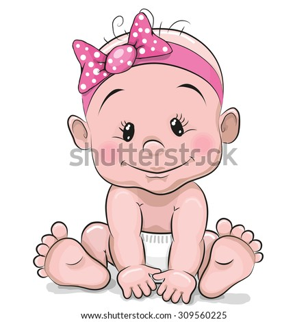 Cute cartoon baby girl isolated on a white background - stock vector