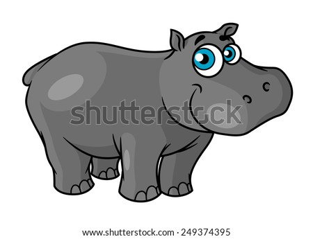 Cute cartoon baby hippo with blue eyes and a happy smile suitable for kids book design - stock vector