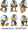 Cute cartoon baby penguins. Vector illustration with simple gradients. All in separate layers for easy editing. - stock vector