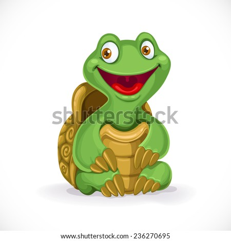 Cute cartoon baby turtle isolated on white background - stock vector