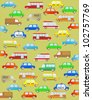 cute cartoon background with urban colorful transport - stock vector