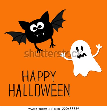 Cute cartoon bat and ghost. Happy Halloween card. Flat design. Vector illustration - stock vector