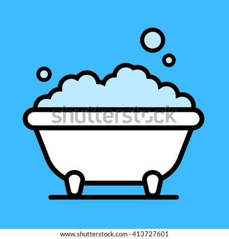 Cute cartoon bathtub with a bubble bath of frothy foam inside over a blue background, vector illustration - stock vector