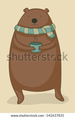 Cute cartoon bear holding a hot cup of tea and wearing a scarf.