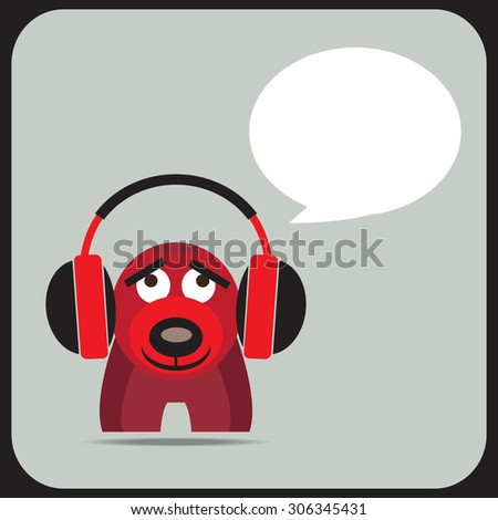 Cute cartoon bear listening to music with speech bubble. Vector EPS 10. - stock vector