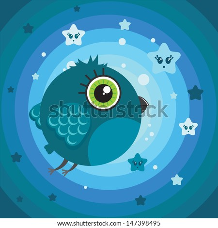 Cute cartoon bird character. Dark blue rounded background with cute stars. Illustration made in Kawaii style. Vector illustration. - stock vector