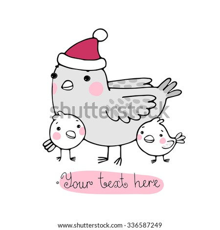 Cute cartoon Bird with chicks in the hat. Hand drawn vector illustration.  - stock vector