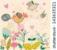 Cute cartoon birds and bee on flowers in vector. Stylish floral card. Summer background in bright colors. - stock vector