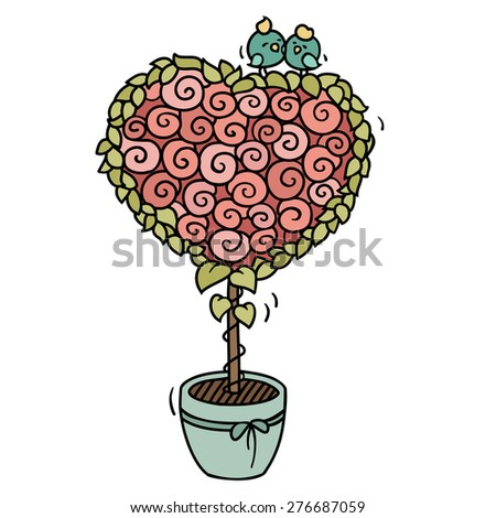 Cute cartoon birds sitting on blooming tree. Little  love birds on a heart shaped bouquet of roses. Hand-drawn romantic vector illustration isolated on white. - stock vector