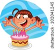 Cute cartoon birthday girl with a cake. Vector illustration with simple gradients. Character and background on separate ayers for easy editing. - stock vector