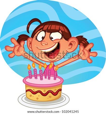Cute Cartoon Birthday Girl Cake Vector Stock Vector 102041245