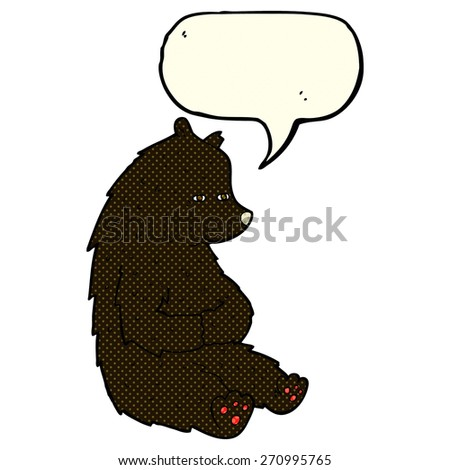 cute cartoon black bear with speech bubble - stock vector