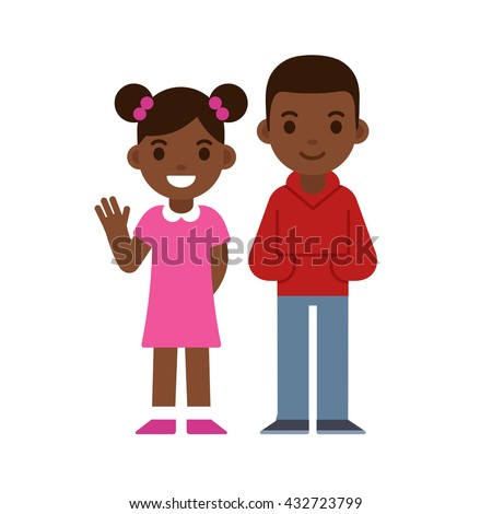 Cute cartoon black children smiling and waving, boy and girl. Brother and sister or two friends. African American kids vector illustration. - stock vector