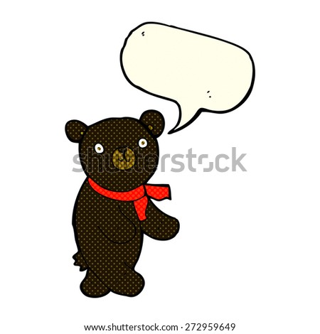 cute cartoon black teddy bear with speech bubble - stock vector