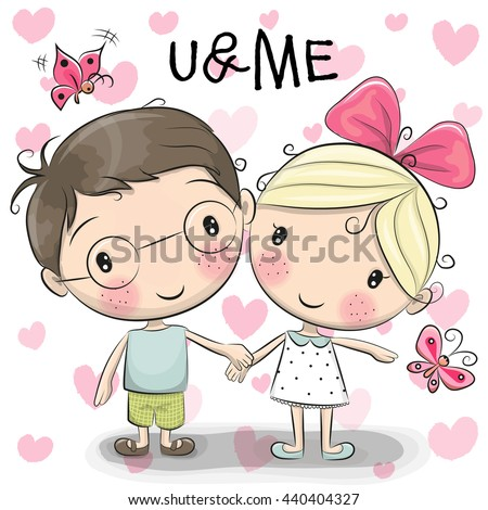 cute cartoon Boy Girl Holding Hands Stock Vector 440404327 - Shutterstock