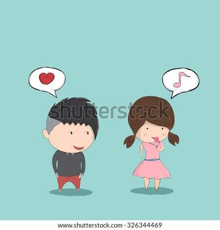 Cute cartoon boy and girl couple in love and secretly like, cute Valentine's Day card, drawing by hand vector and digital illustration created without reference image. - stock vector
